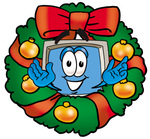 Clip Art Graphic of a Desktop Computer Cartoon Character in the Center of a Christmas Wreath