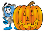 Clip Art Graphic of a Desktop Computer Cartoon Character With a Carved Halloween Pumpkin