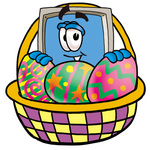 Clip Art Graphic of a Desktop Computer Cartoon Character in an Easter Basket Full of Decorated Easter Eggs