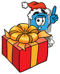 Clip Art Graphic of a Desktop Computer Cartoon Character Standing by a Christmas Present