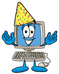 Clip Art Graphic of a Desktop Computer Cartoon Character Wearing a Birthday Party Hat