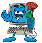 Clip Art Graphic of a Desktop Computer Cartoon Character Holding a Red Rose on Valentines Day
