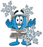 Clip Art Graphic of a Desktop Computer Cartoon Character With Three Snowflakes in Winter