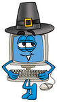 Clip Art Graphic of a Desktop Computer Cartoon Character Wearing a Pilgrim Hat on Thanksgiving
