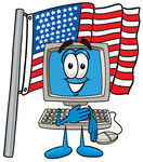 Clip Art Graphic of a Desktop Computer Cartoon Character Pledging Allegiance to an American Flag