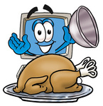 Clip Art Graphic of a Desktop Computer Cartoon Character Serving a Thanksgiving Turkey on a Platter