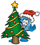 Clip Art Graphic of a Desktop Computer Cartoon Character Waving and Standing by a Decorated Christmas Tree