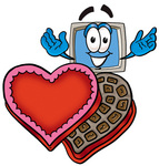 Clip Art Graphic of a Desktop Computer Cartoon Character With an Open Box of Valentines Day Chocolate Candies