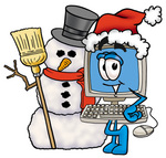 Clip Art Graphic of a Desktop Computer Cartoon Character With a Snowman on Christmas