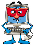 Clip Art Graphic of a Desktop Computer Cartoon Character Wearing a Red Mask Over His Face