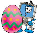 Clip Art Graphic of a Desktop Computer Cartoon Character Standing Beside an Easter Egg