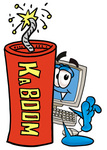 Clip Art Graphic of a Desktop Computer Cartoon Character Standing With a Lit Stick of Dynamite