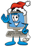 Clip Art Graphic of a Desktop Computer Cartoon Character Wearing a Santa Hat and Waving