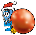 Clip Art Graphic of a Desktop Computer Cartoon Character Wearing a Santa Hat, Standing With a Christmas Bauble