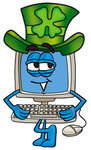 Clip Art Graphic of a Desktop Computer Cartoon Character Wearing a Saint Patricks Day Hat With a Clover on it
