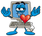 Clip Art Graphic of a Desktop Computer Cartoon Character With His Heart Beating Out of His Chest