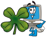 Clip Art Graphic of a Desktop Computer Cartoon Character With a Green Four Leaf Clover on St Paddy's or St Patricks Day