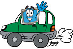 Clip Art Graphic of a Desktop Computer Cartoon Character Driving a Green Car and Waving