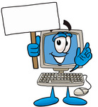Clip Art Graphic of a Desktop Computer Cartoon Character Holding a Blank Sign
