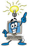 Clip Art Graphic of a Desktop Computer Cartoon Character With a Bright Idea