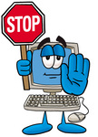 Clip Art Graphic of a Desktop Computer Cartoon Character Holding a Stop Sign