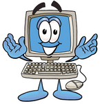 Clip Art Graphic of a Desktop Computer Cartoon Character With Welcoming Open Arms