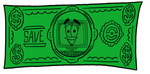 Clip Art Graphic of a Desktop Computer Cartoon Character on a Dollar Bill
