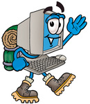 Clip Art Graphic of a Desktop Computer Cartoon Character Hiking and Carrying a Backpack