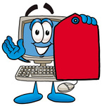 Clip Art Graphic of a Desktop Computer Cartoon Character Holding a Red Sales Price Tag