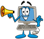 Clip Art Graphic of a Desktop Computer Cartoon Character Holding a Megaphone