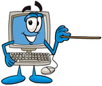 Clip Art Graphic of a Desktop Computer Cartoon Character Holding a Pointer Stick