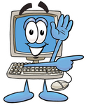 Clip Art Graphic of a Desktop Computer Cartoon Character Waving and Pointing