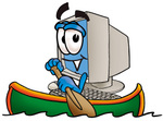 Clip Art Graphic of a Desktop Computer Cartoon Character Rowing a Boat