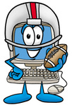 Clip Art Graphic of a Desktop Computer Cartoon Character in a Helmet, Holding a Football