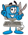 Clip Art Graphic of a Desktop Computer Cartoon Character Holding a Pair of Scissors