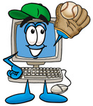 Clip Art Graphic of a Desktop Computer Cartoon Character Catching a Baseball With a Glove