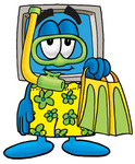 Clip Art Graphic of a Desktop Computer Cartoon Character in Green and Yellow Snorkel Gear