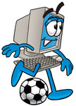 Clip Art Graphic of a Desktop Computer Cartoon Character Kicking a Soccer Ball