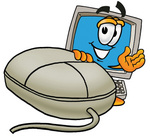 Clip Art Graphic of a Desktop Computer Cartoon Character With a Computer Mouse