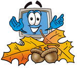 Clip Art Graphic of a Desktop Computer Cartoon Character With Autumn Leaves and Acorns in the Fall