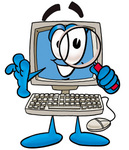 Clip Art Graphic of a Desktop Computer Cartoon Character Looking Through a Magnifying Glass