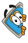 Clip Art Graphic of a Desktop Computer Cartoon Character Peeking Around a Corner