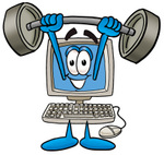 Clip Art Graphic of a Desktop Computer Cartoon Character Holding a Heavy Barbell Above His Head