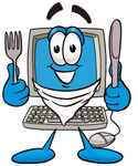 Clip Art Graphic of a Desktop Computer Cartoon Character Holding a Knife and Fork