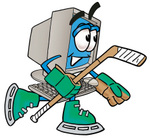 Clip Art Graphic of a Desktop Computer Cartoon Character Playing Ice Hockey