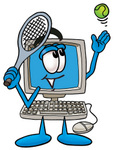 Clip Art Graphic of a Desktop Computer Cartoon Character Preparing to Hit a Tennis Ball