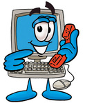 Clip Art Graphic of a Desktop Computer Cartoon Character Holding a Telephone
