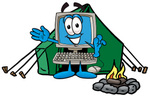 Clip Art Graphic of a Desktop Computer Cartoon Character Camping With a Tent and Fire