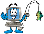Clip Art Graphic of a Desktop Computer Cartoon Character Holding a Fish on a Fishing Pole