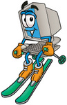 Clip Art Graphic of a Desktop Computer Cartoon Character Skiing Downhill